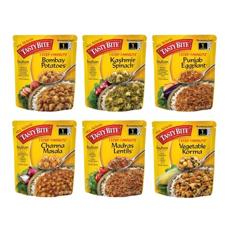 Kashmir Spinach - Tasty Bite Indian Entree Variety Pack 10 Ounce 6 Count, Fully Cooked Indian Entrées, Includes Bombay Potatoes, Kashmir Spinach, Punjab Eggplant, Channa Masala, Madras Lentils, Vegetable Korma