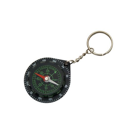 COMPASS KEYRING | Basic Black Survival Camping Key
