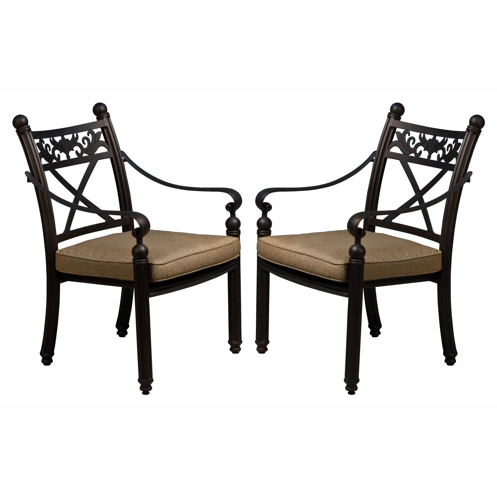 Paradise Cove Designs Balboa Aluminum Outdoor Dining Chair with Optional Cushions Set of 2 by