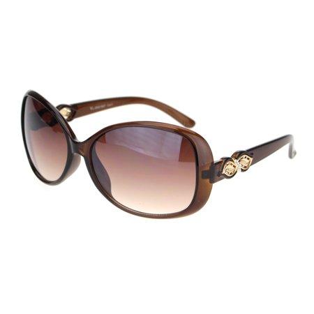 9ea9ec1127f Womens Rhinestone Foliage Jewel Designer Butterfly Sunglasses Brown