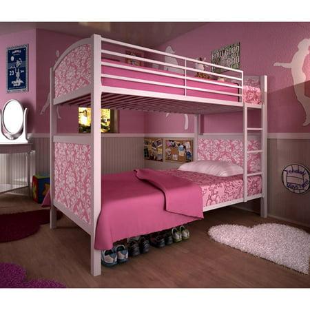 White Metal Twin Bunk Bed Pink Damask P Walmart Com