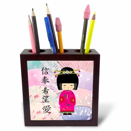 3dRose Geisha Faith Hope Love, Tile Pen Holder, 5-inch