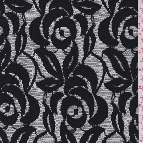Black Floral Nylon Lace, Fabric By the Yard