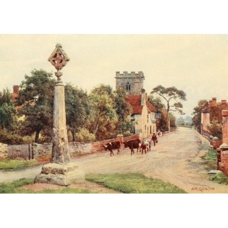 - Avon & Shakespeares Country 1910 Eckington Cross Stretched Canvas - Alfred Quinton (18 x 24)