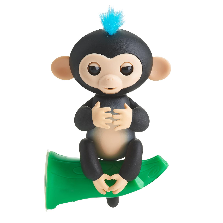 Fingerlings Interactive Baby Monkey Finn Black with Blue Hair