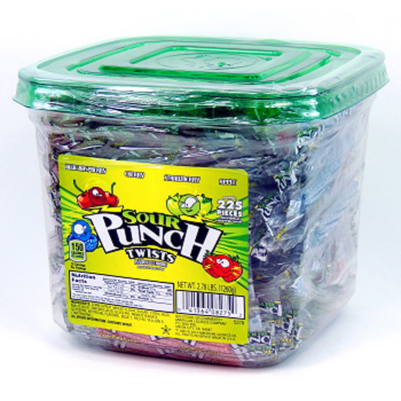 "Sour Punch 3"" Wrapped Sour Twists 2.78lb Jar"
