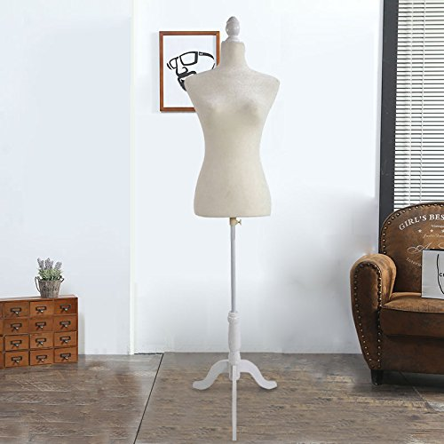 Zimtown Female Adjustable Torso Mannequin Premium Women Dress Form Display W/ Wooden Tripod Stand