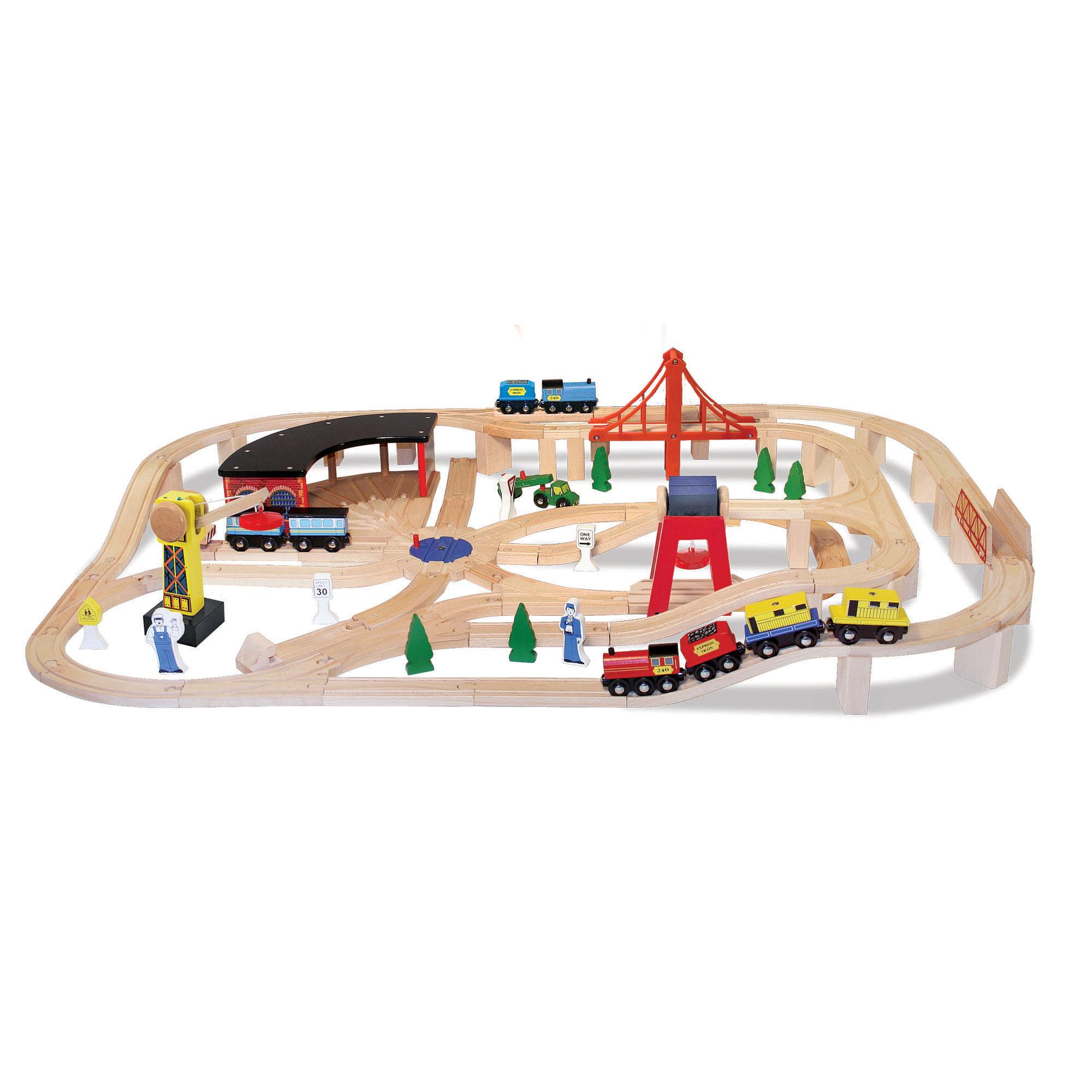 Melissa & Doug Wooden Railway Set (Vehicles, High-Quality Construction, 130 Pieces, 17? H x 5? W x 28? L)