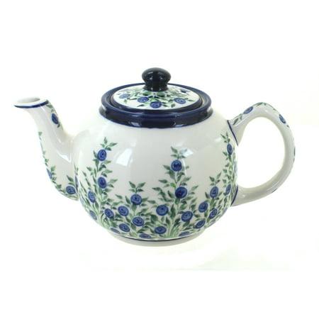 Blue Rose Polish Pottery Porcelain Vine Medium Teapot (Pottery Blue Vine)