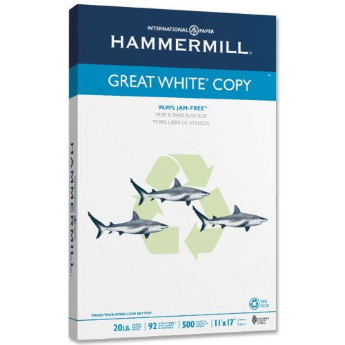 Hammermill Great White 30% Recycled Copy Paper, 20lb,  11 x 17, Ledger, 92 Bright, 500 Sheets/1 Ream (086750)