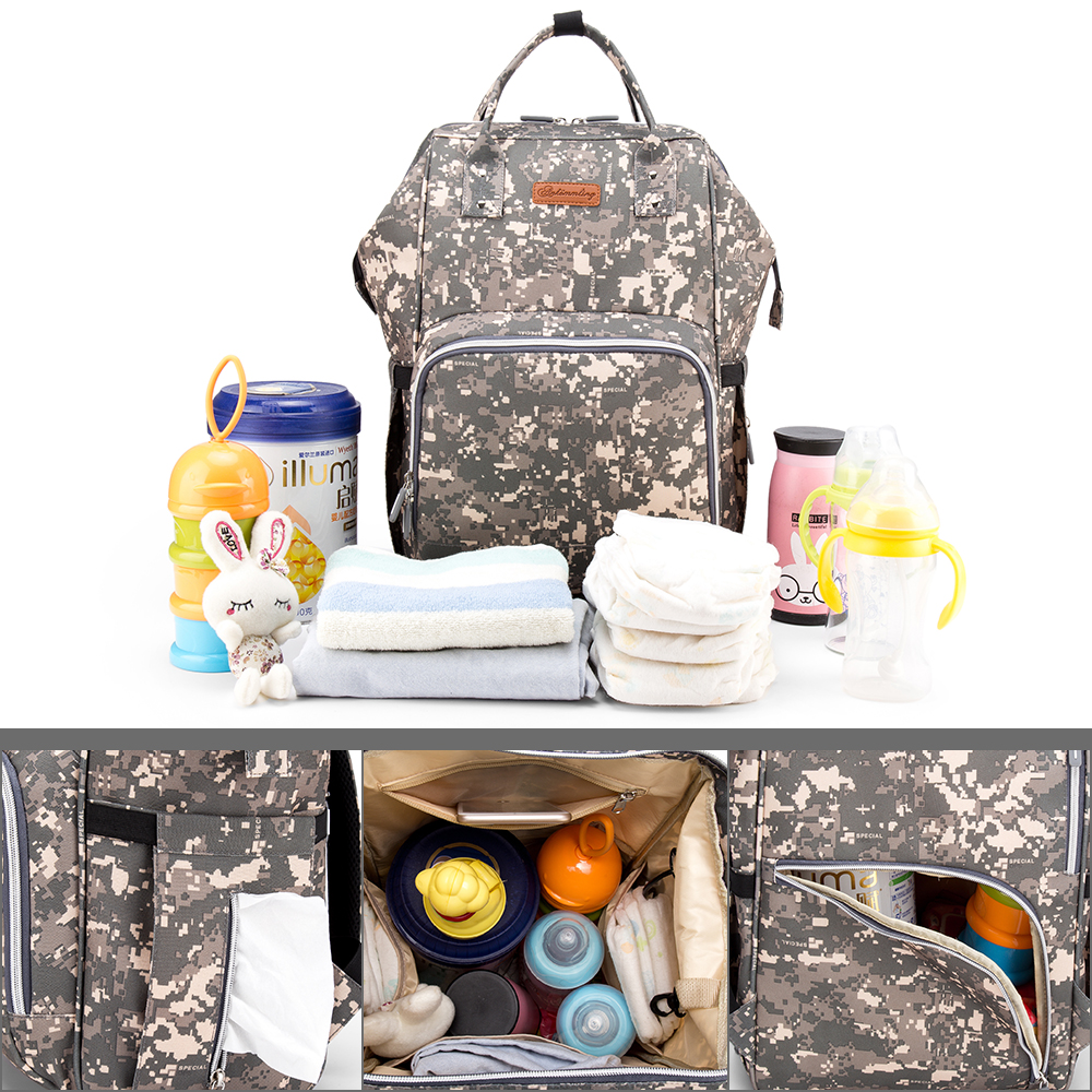 Multifunctional Hot Large Capacity Mummy Baby Maternity Diaper Bag Nappy Changing Bag Travel Backpack Mummy Bag (Camo)