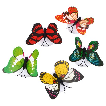 WALFRONT Changing Butterfly LED Night Light,Colorful Changing Butterfly LED Night Light Lamp Home Room Desk Wall Decor AB ()