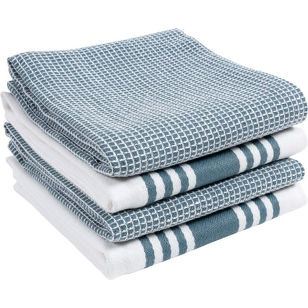 KAF Home, 4 Pack, Centerband and Waffle Flat Kitchen Towels ...