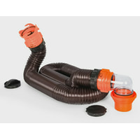 Camco RhinoFLEX 15ft Heavy Duty RV Sewer Hose Kit, Includes Swivel Fitting and Translucent Elbow with 4-In-1 Dump Station Fitting, Storage Caps Included (39762)