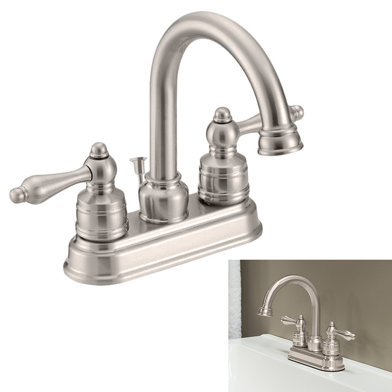 Two Handle High-Arc Bathroom Faucet Swivel Spout, Satin Nickel