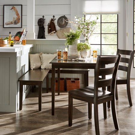 Weston Home Lexington 5-Piece Breakfast Nook Dining Set, Rectangular Table, Antique Black