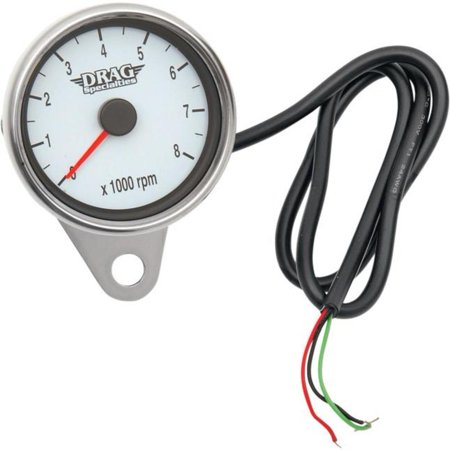 Drag Specialties Electronic - Drag Specialties 2211-0032 Polished 2.4in. Mini Electronic 8000 RPM Tachometer - White Face with Orange Needle
