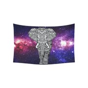 PHFZK Universe Wall Art Home Decor, Colorful Galaxy Elephant in Deep Outer Space Tapestry Wall Hanging 40 X 60 Inches