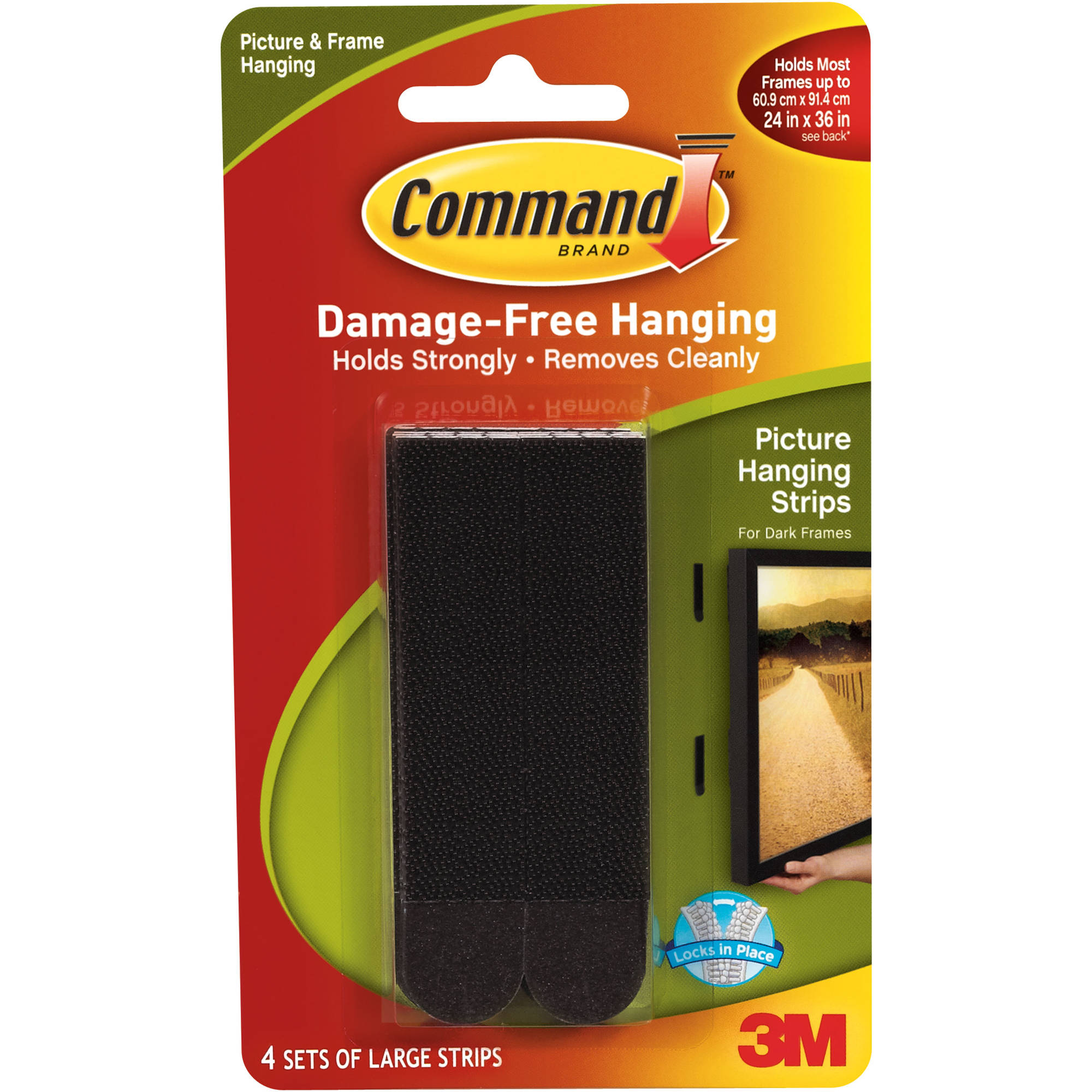 Command Picture Hanging Strips, Large, Black