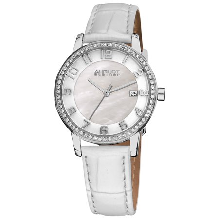 White Women's Swiss Quartz Mother of Pearl Crystal Strap Watch with FREE Bangle -