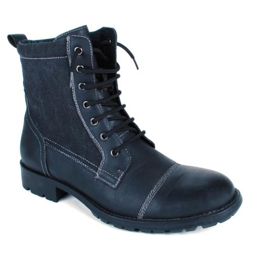 Alpine Swiss Men's Combat Boots Lug Sole Rugged Canvas Trim Military Field Shoes Black Size 8
