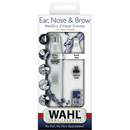 Wahl Dual Head Ear, Nose & Brow Personal Trimmer 1 ea (Pack of (Wahl Rechargeable Ear Nose And Brow Trimmer)
