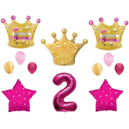 Princess Gold Crown 2nd Birthday Party Balloons Decoration Supplies Second