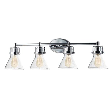 Maxim Lighting Seafarer - Four Light Bath Vanity, Polished Chrome Finish with Seedy Glass