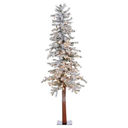 Vickerman 5' Flocked Spruce Alpine White Artificial Christmas Tree with 250 Clear Lights