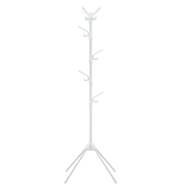 Topbuy White Coat Rack Stand Metal Hat Hanger Entryway Hall Tree With Folding Base And 8 Hooks