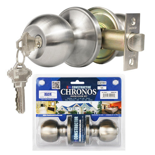 """Constructor"" Chronos Entry Door Lever Lock Set with Knob Handle, Stainless Steel"