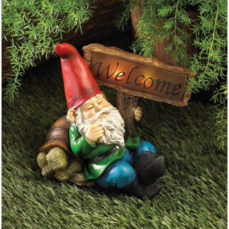Welcome Gnome Solar Light Statue Outdoor Yard Garden Patio Home Lawn Decor, By Gnomes from USA (Outdoor Yard Decor)