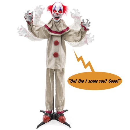 Cheapest Halloween Animatronics (Best Choice Products Scary Harry the Motion Activated Animatronic Killer Clown, Halloween Prop w/ Pre-Recorded Lines, Red Light Up Eyes, Moving Arms &)