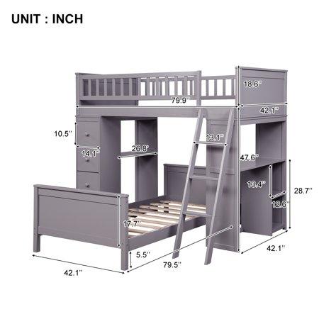 EUROCO Twin Over Twin Loft Bed with Four Drawers and Ladder for Kids, Multiple Colors