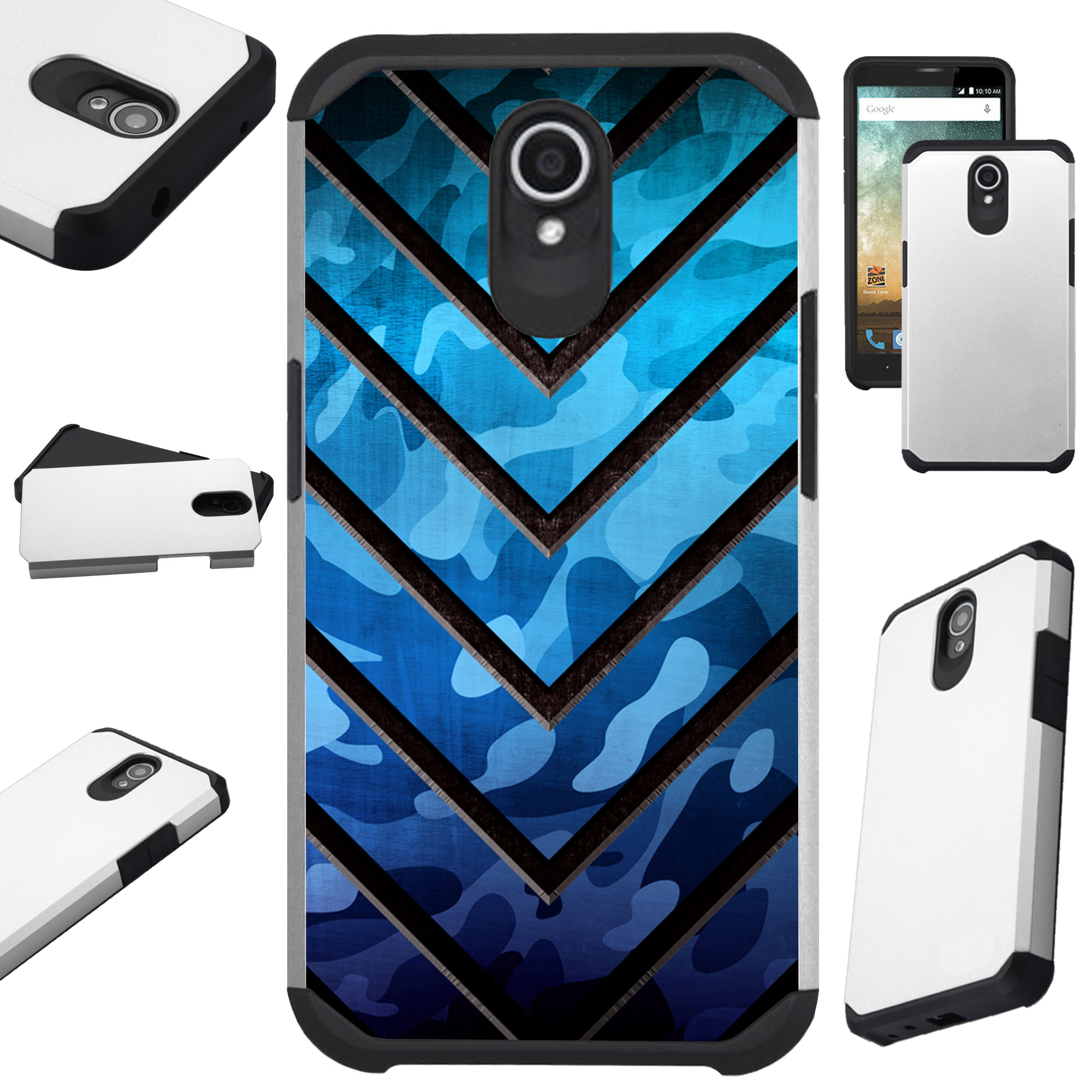 For Alcatel idealXTRA   1X Evolve (2018)   TCL LX Phone Case Hybrid Fusion Cover (Metal V Blue Print)