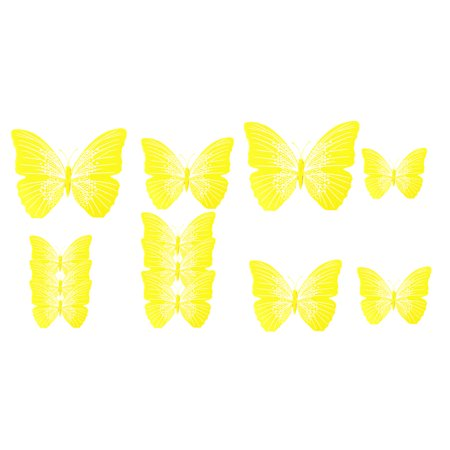 Yellow Refrigerator - Bedroom Refrigerator Magnet Butterfly Wall Sticker Decoration Yellow Set 12 in 1