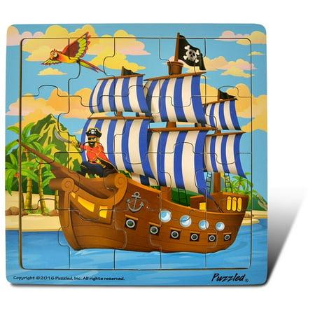 Pirate Ship Jigsaw - Pirate Ship - Jigsaw 21 Pieces Wooden Puzzle