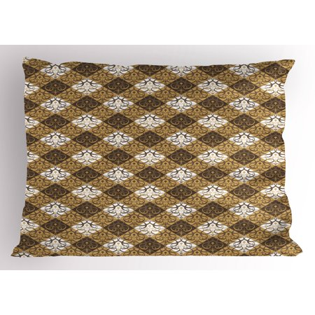 Oriental Pillow Sham Traditional Damask Inspirations with Abstract Middle Eastern Swirls, Decorative Standard King Size Printed Pillowcase, 36 X 20 Inches, Sand Brown Umber White, by Ambesonne