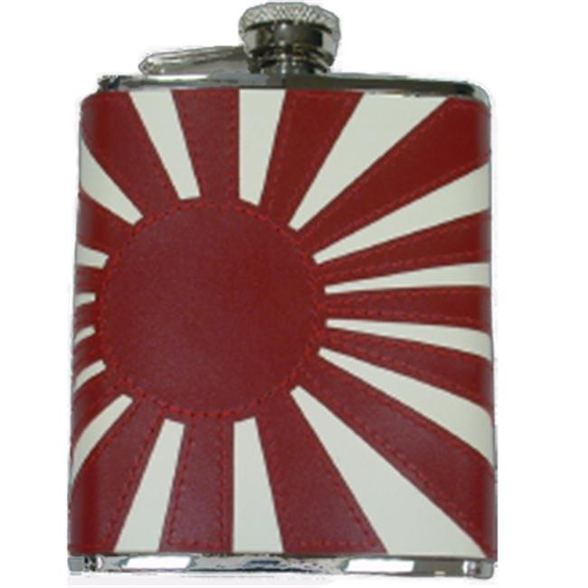 Simran HFFS-6199 Ajmer 6 oz.  Rising Sun Flag Genuine Leather Stainless Steel Flask