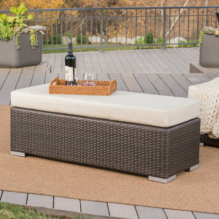Avianna Outdoor Wicker Bench with Cushion, Multibrown, Beige ()