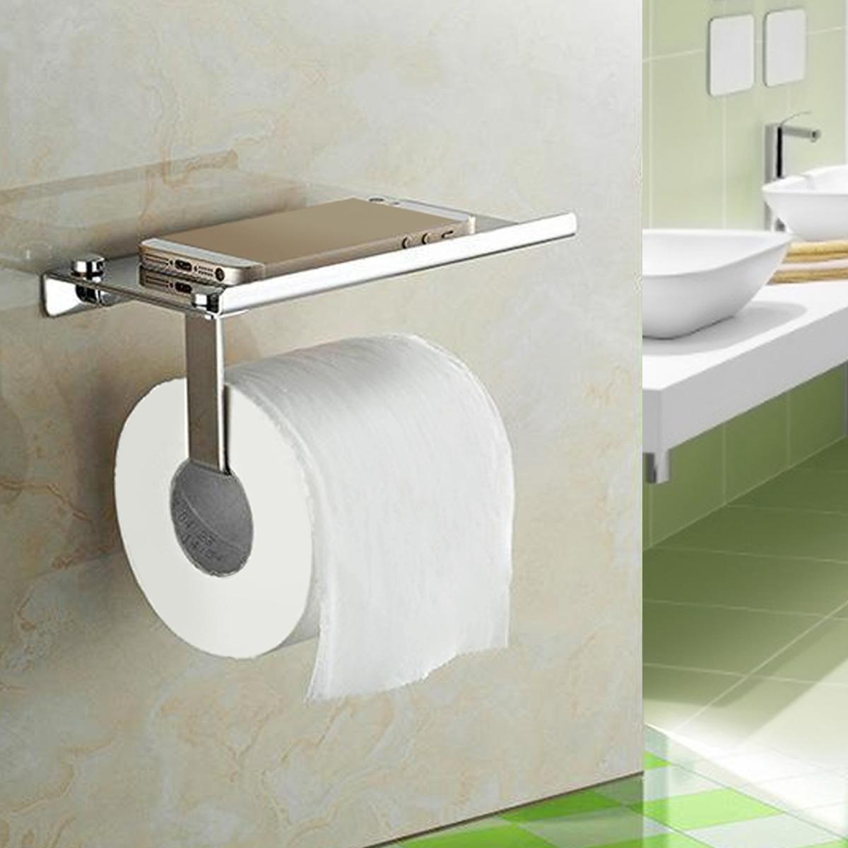 Stainless Steel Bathroom Toilet Paper Phone Holder Shelf Bathroom Mobile Rack