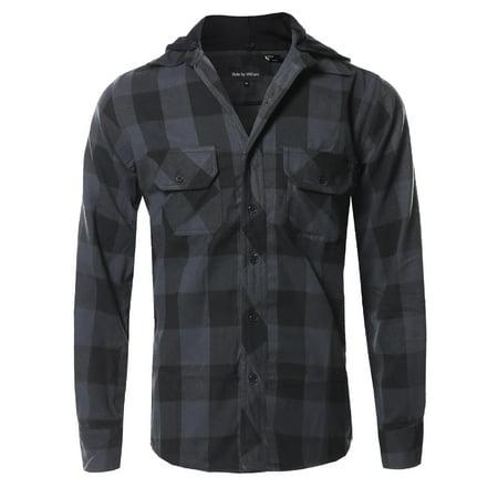 FashionOutfit Men's Flannel Woven Long Sleeves Detachable Hood Button Down Shirt