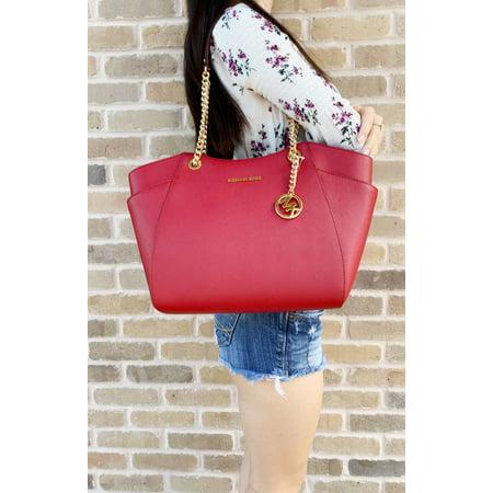 Scarlet Jet - Michael Kors Jet Set Travel Chain Shoulder Tote Bag Scarlet Red Saffiano Leather