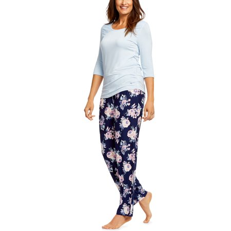 Gloria Vanderbilt Women's and Women's Plus Midnight Garden Knit 2-Piece Sleep Set - Plus Size Onsie