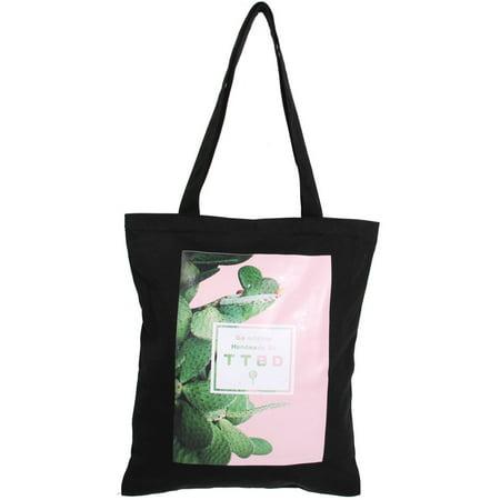 Hobo Boot (Student Canvas Cactus Pattern Zipper Design Book Holder Shoulder Tote Bag Black )