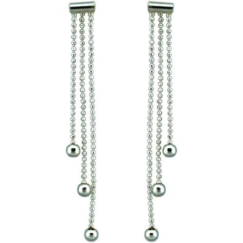 3-Strand Bead Sterling Silver Drop Earrings