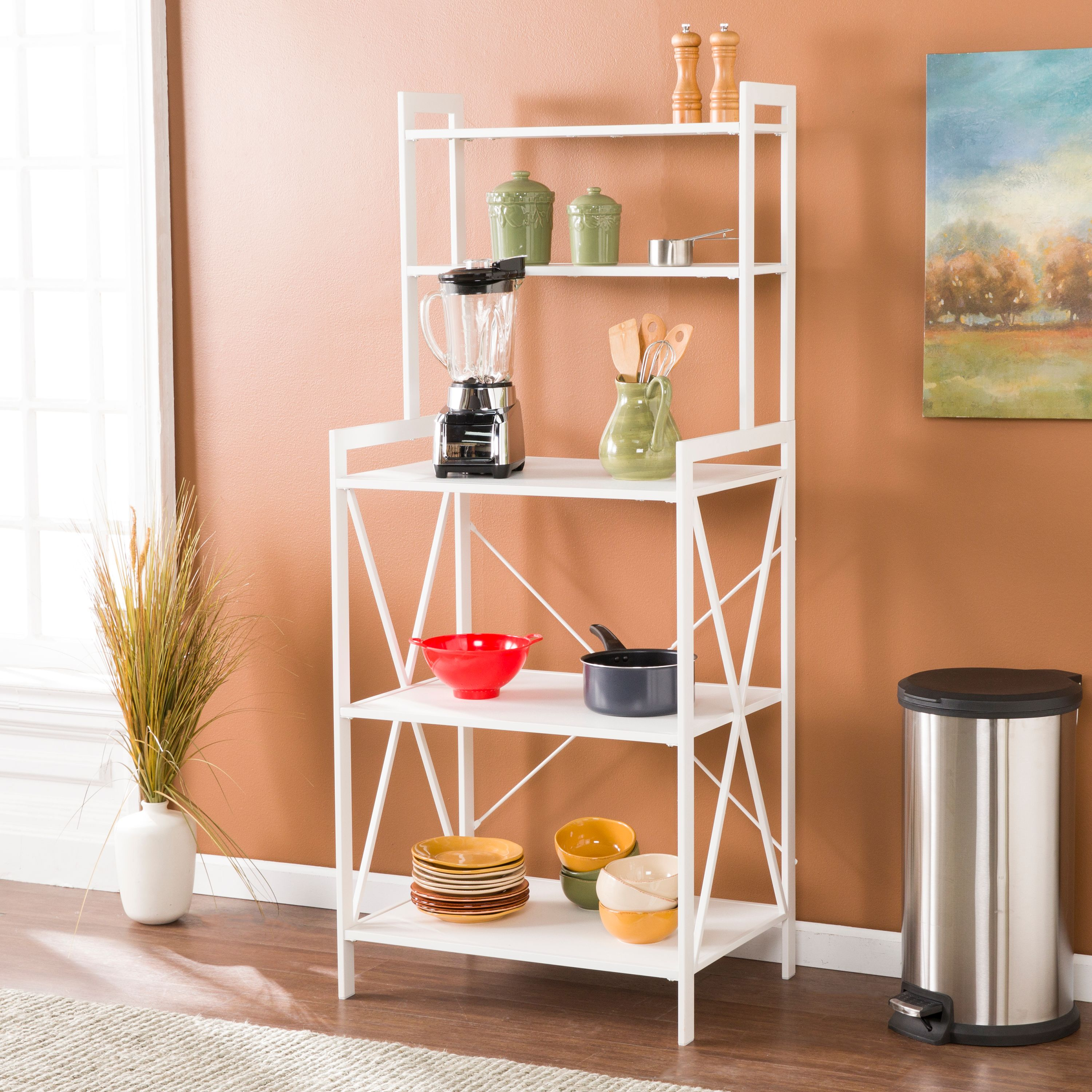 Southern Enterprises Patci Mixed Material Bakers Rack, Modern Farmhouse Style, White