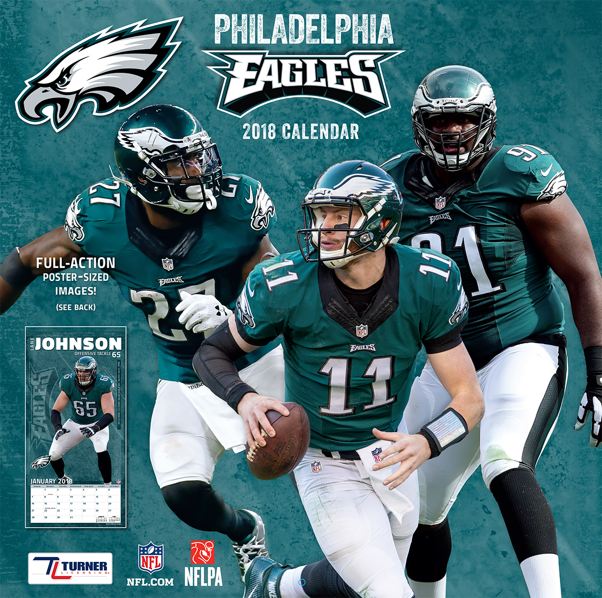 TURNER SPORTS PHILADELPHIA EAGLES 2018 12X12 TEAM WALL CALENDAR ...