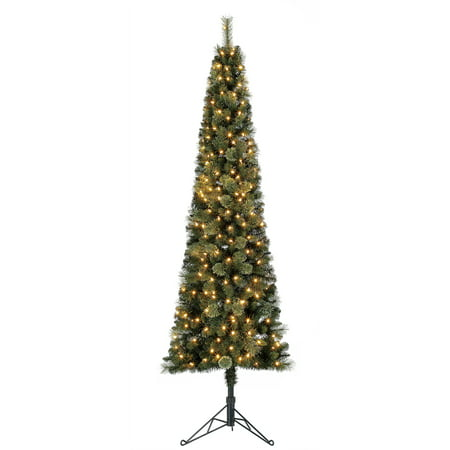 Home Heritage Cashmere 7 Foot Artificial Corner Christmas Tree with LED Lights ()