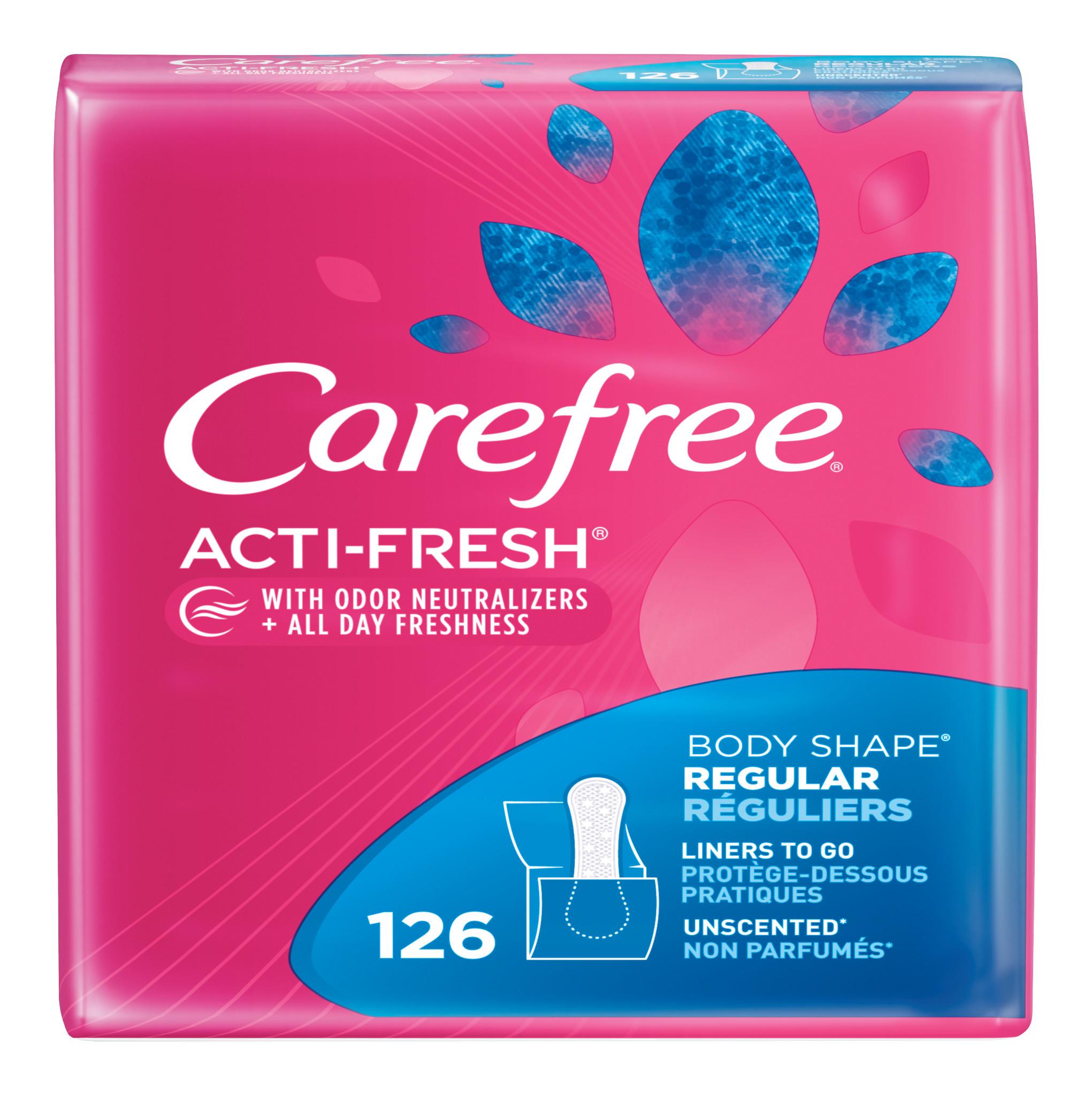 Carefree Acti-Fresh Body Shaped Pantiliners, Unscented, Regular Length, 20ct